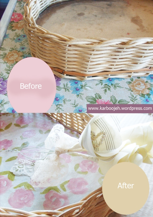 How to update an old basket with a romantic motif | By Karboojeh Handmade